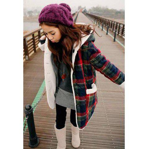 Sweet Rabbit Ear Hooded Plaid Print Wear on Both Sides Women's Cotton Coat - AS THE PICTURE ONE SIZE