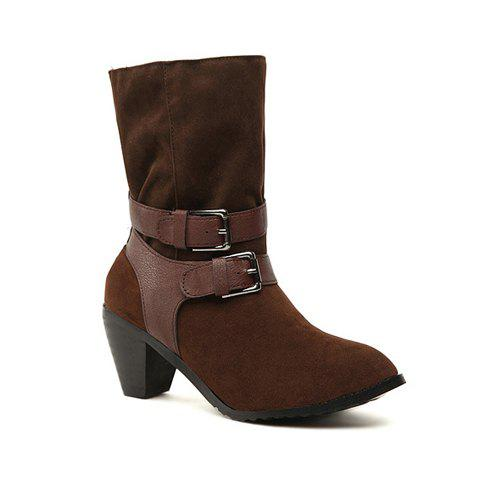 Casual Stylish Solid Color Belts Buckles Design Women's Boots - BROWN 36
