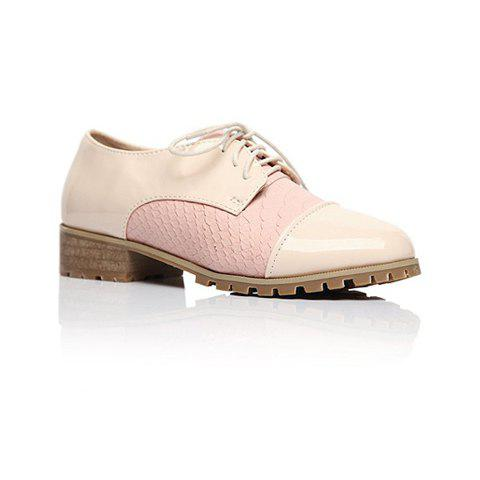 Casual Fashion Color Matching Splicing Preppy Style Lace-Up Design Women's Flats - 37 APRICOT