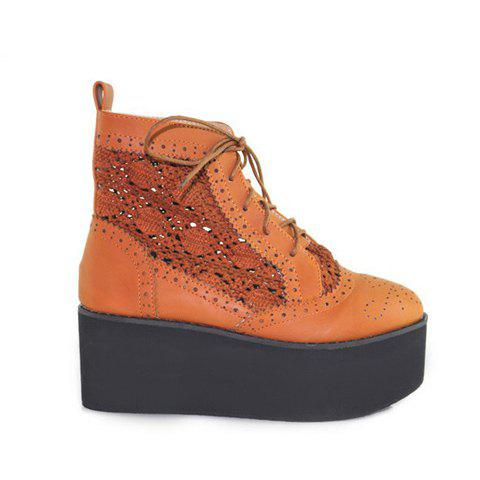 Stylish Casual Lace-Up Round Head Nets Design Women's Platform - BROWN 35