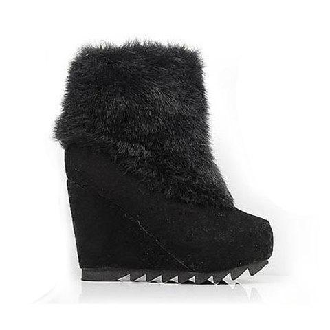 Casual Laconic Solid Color Wedge Heel Artificial Cony Hairy Design Women's Platform Boots - BLACK 36