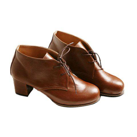 Casual Elegant Retro Solid Color Lace-Up Preppy Style Design Women's Boots - BROWN 36