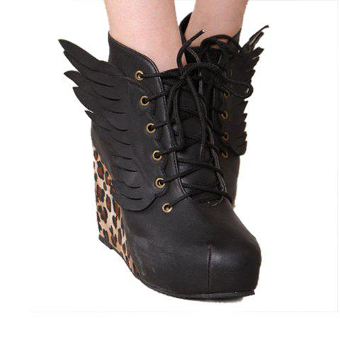 Fashion Casual and Wings Leopard Patterns Lace-Up Design Women's Boots - BLACK 36