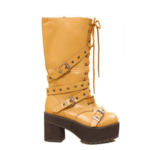 Casual Stylish Cool Solid Color Belts Buckles Rivets Lace-Up Design Women's Boots - YELLOW 36