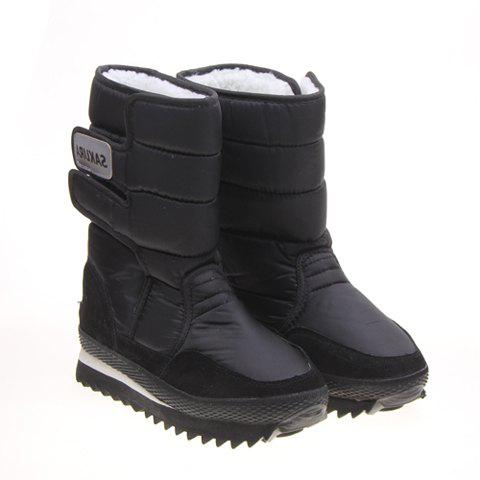 Imitation Fur And Black Design Womens Short Boots BLACK
