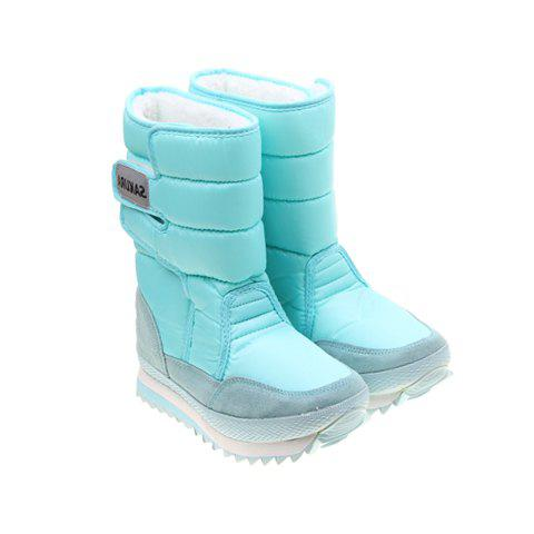 Imitation Fur and Blue Design Women's Short Boots - BLUE 37