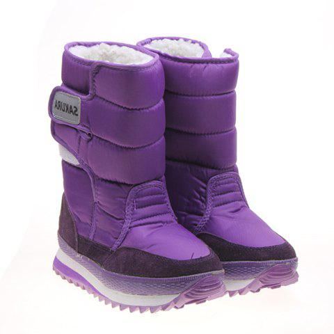 Imitation Fur and Purple Design Women's Short Boots - PURPLE 38