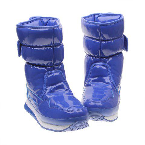 Deep Blue and Imitation Fur Design Women's Short Boots