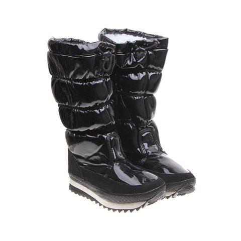Imitation Fur and Adjustable (Black) Design Women's Short Boots - BLACK 38