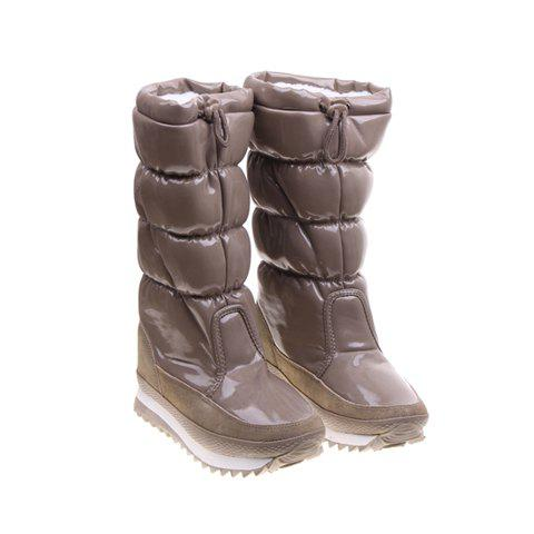 Imitation Fur and Adjustable (Khaki) Design Women's Short Boots - KHAKI 38