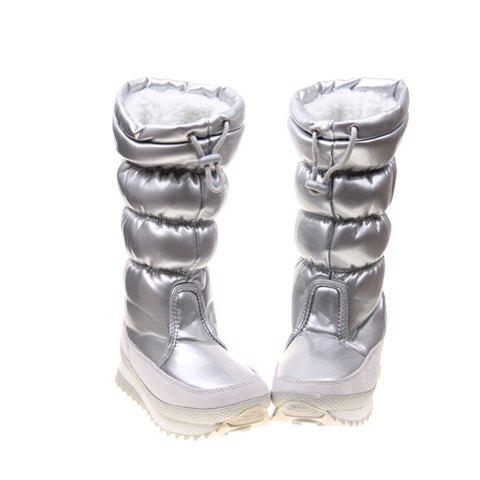 Imitation Fur and Adjustable (Silver) Design Women's Short Boots - SILVER 38