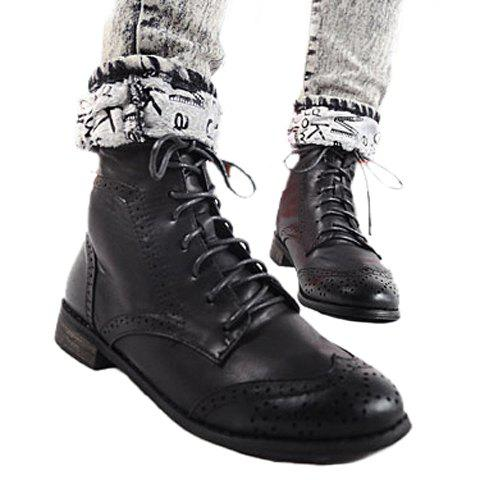 Casual Retro Color Splicing Lace-Up Carving Patterns Design Women's Boots - BLACK 38