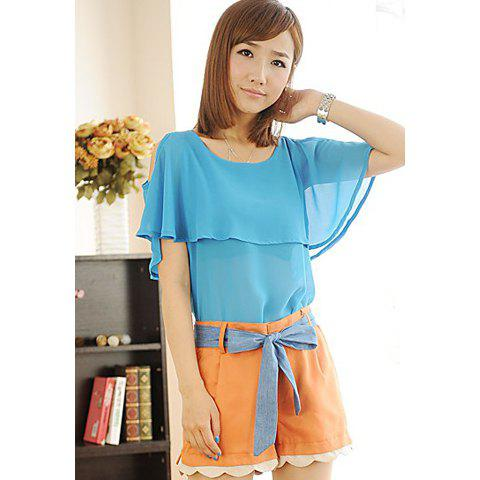 Sweet Off The Shoulder Flouncing Scoop Neck Short Sleeve Chiffon Women's Blouse - BLUE ONE SIZE