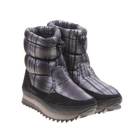Rubber and Imitation Fur Design Women's Short Boots - BLACK 37