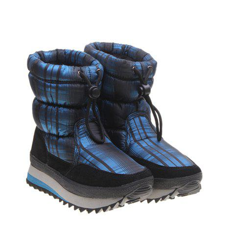 Rubber and Imitation Fur Design Women's Boots - BLUE 37