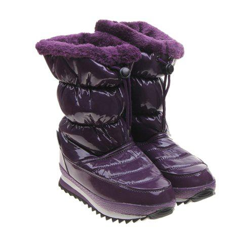 Imitation Fur and Ruffle Design Women's Short Boots - PURPLE 38