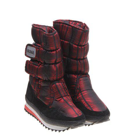 Imitation Fur Design(Deep Red)Women's Short Boots - DEEP RED 37