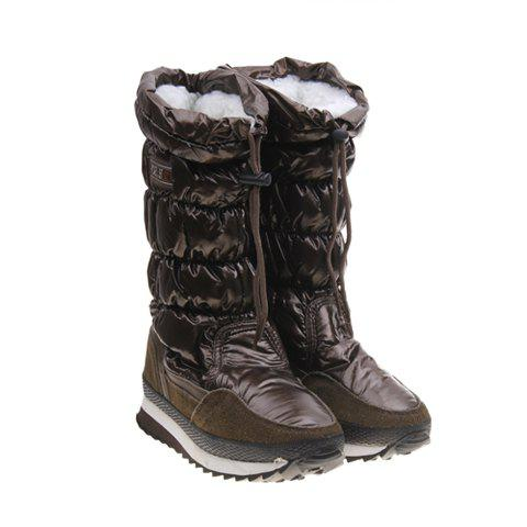 Imitation Fur and Solid Color Design Women's Short Boots - DEEP GREEN 37