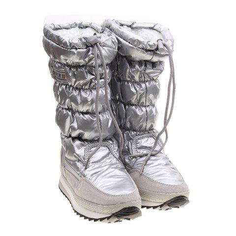 Imitation Fur and Silvery Design Women's Short Boots - SILVER 38