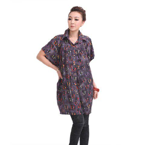 Fashion Allover Print Short Sleeves Cotton Blend Women's Oversized Shirt - PURPLE ONE SIZE