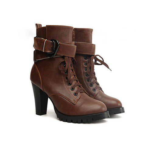 Casual Stylish Solid Color Lace-Up Belts Design Women's Boots - BROWN 40