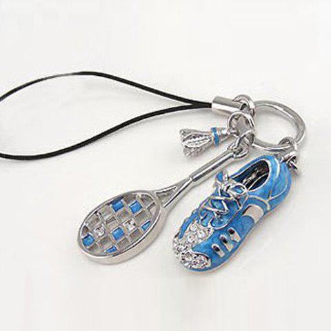Korea Style Rhinestone Embellished Racquet and Shoe Pendant Mobile Chain - BLUE