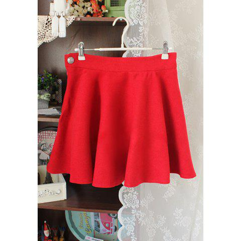 Fashionable Large Hem Pleated Wool Skirt For Women - RED M