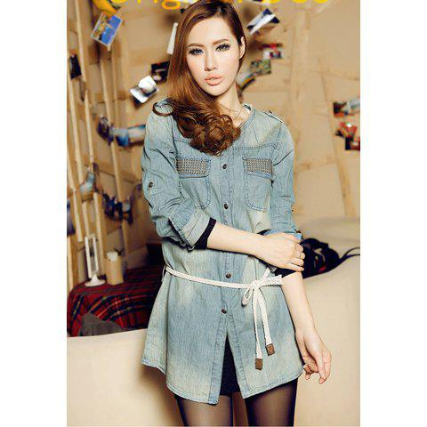 Retro Scoop Neck Stud Embellished Denim Women's Shirt(With Belt) - BLUE ONE SIZE