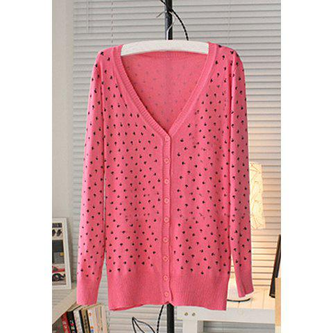 Candy Color V-Neck Long Sleeve Knitting Women's Cardigan - WATERMELON RED ONE SIZE