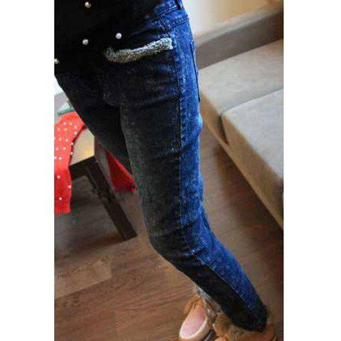 Retro Style Snowflake Purfles Design Slimming Keeping Warm Jeans Women's Pants - BLUE S