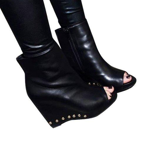 Casual Elegant Solid Color Wedge Heel Rivets Peep Toes Design Women's Boots - BLACK 36