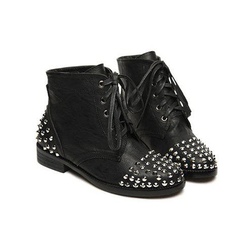 Casual Stylish Solid color Lace-Up Rivets Design Women's Boots - BLACK 35