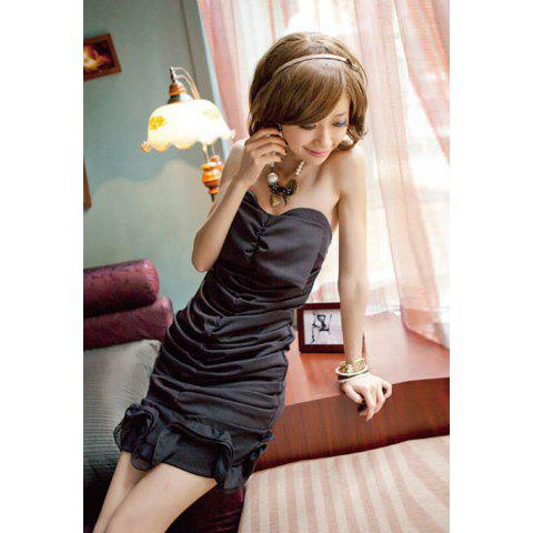 Charming Style Pleated Flouncing Embellished Off The Shoulder Heavy Chiffon Women's Wrap-Chest Dress - BLACK ONE SIZE