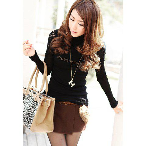 Simple Design High Neck Solid Color Splicing Voile Long Sleeves Slimming Cotton Blend Women's T-Shirt - BLACK ONE SIZE