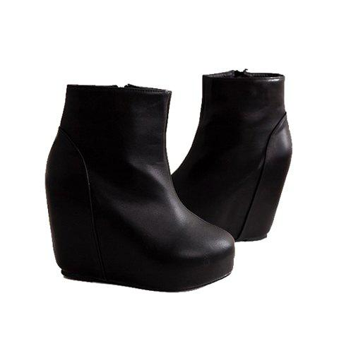 Solid Color and Zipper Design Women's Ankle Boots - BLACK 36