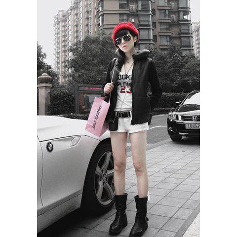 Morden Style Solid Color Unique Columned Collar Long Sleeves Artificial Leather Women's Jacket - BLACK M