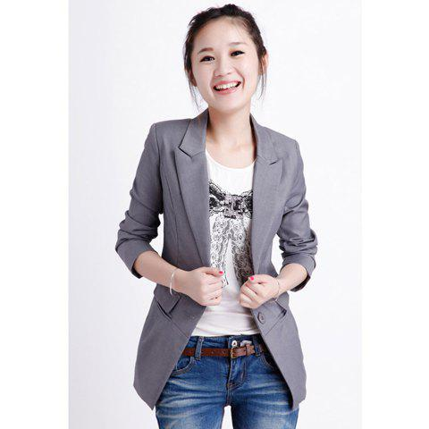 Laconic OL Style Slimming Solid Color Waist Pleated Long Sleeves Cotton Blend Women's Long Blazers - LIGHT GRAY S
