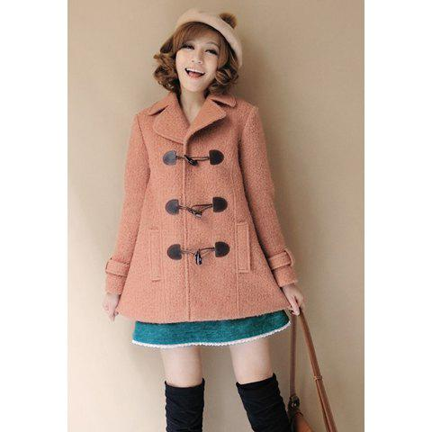 Sweet Style Horn Buttons Sleeve Tab Embellished Long Sleeves Artificial Wool Worsted Women's Coat - AS THE PICTURE L