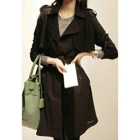 Morden Style Double Breasted Design Adjustable Sleeve Chiffon Women's Long Coat - BLACK ONE SIZE