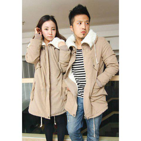 Casual Style Loose-Fitting Lover Style Wool Fur Inside Long Sleeves Cotton Blend Women's Coat - KHAKI L