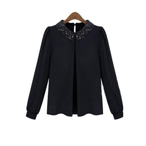 Retro Sequin Embellished Turndown Collar Puff Sleeve Chiffon Women's Shirt - BLACK S