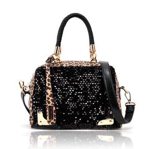 Stylish Color Matching Leopard Patterns Sequins Design Women's Handbag