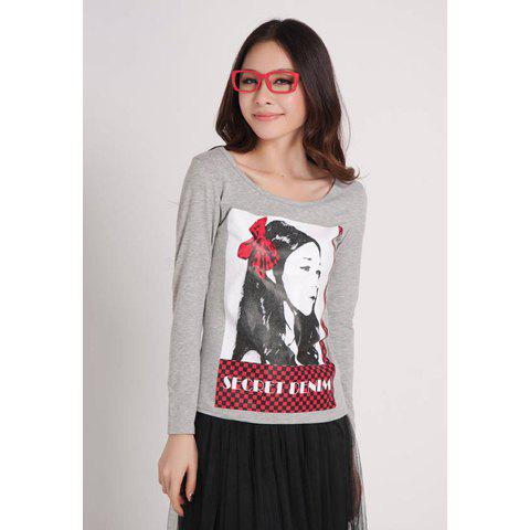 Casual Portrait Print Scoop Neck Cotton Long Sleeve Women's T-Shirt - LIGHT GRAY M