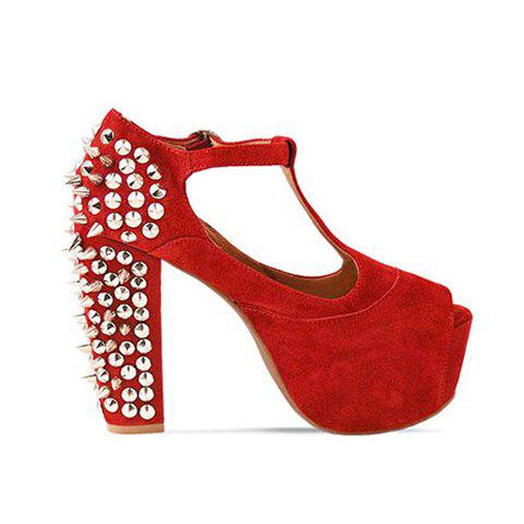 Stylish Solid Color Rivets Design Women's Pumps - RED 36