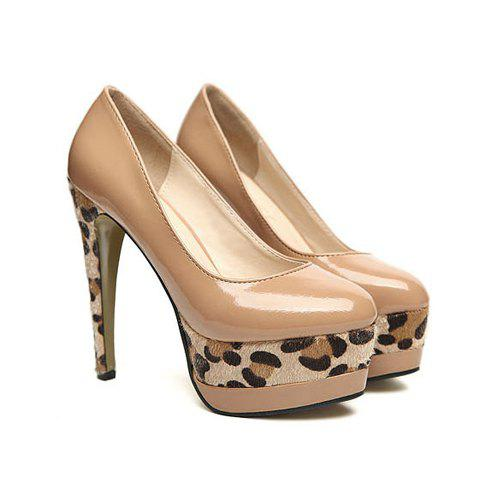 Elegant Stylish Color Matching Leopard Patterns Stiletto Heel Design Women's Pumps - APRICOT 37