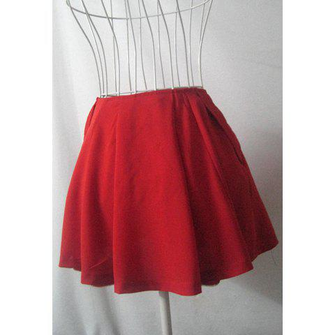 Sweet Solid Color Pleated Large Hem Women's Skirt - RED S