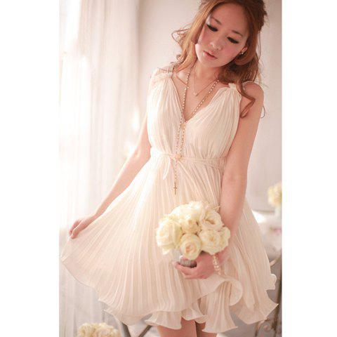 Goddess Plunging Neck Noble Sleeveless White Chiffon Pleated Womens DressWomen<br><br><br>Size: S<br>Color: WHITE