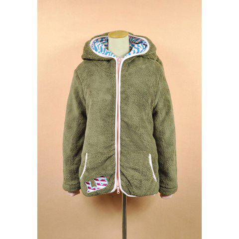Cute Thicken Long Sleeve Khaki Hooded Women's Coat