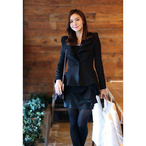 OL Temperament Lapel Slimming Shrug Single Button Women's Blazer - BLACK S