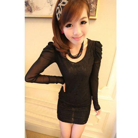 Sweet Style Slimming Voil Splicing Long Pleated Puff Sleeves Openwork Lace Women's Dress - BLACK ONE SIZE